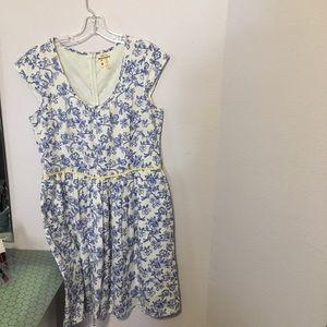Linen print pocketed dress Matilda Jane Sz 10